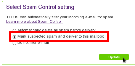 Sélectionner l'optionMark suspected spam and deliver to this mailbox et cliquer sur le bouton Update